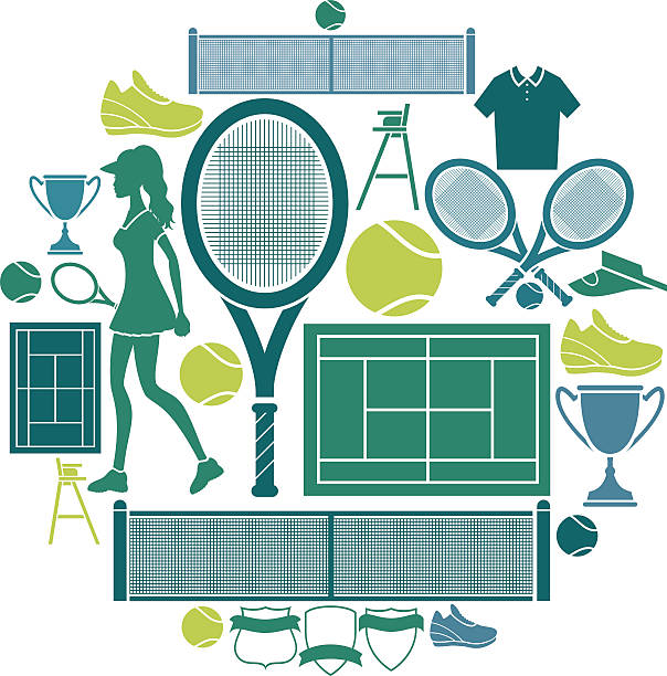 tennis-icon-set - wimbledon stock-grafiken, -clipart, -cartoons und -symbole
