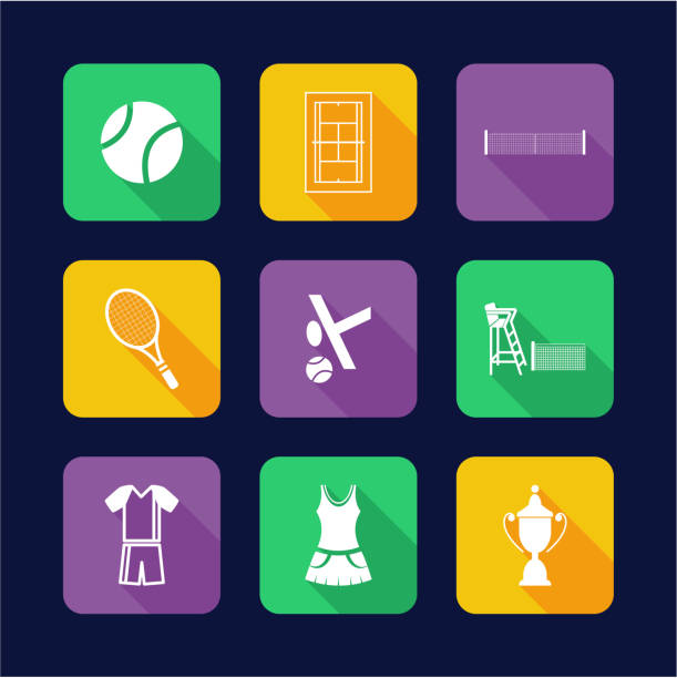 tennis symbole flat-design - wimbledon stock-grafiken, -clipart, -cartoons und -symbole