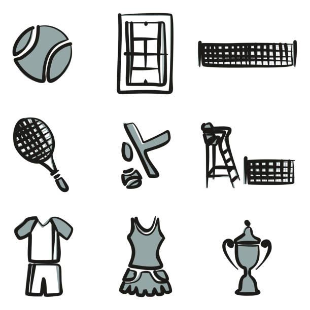 tennis-ikonen freihand 2-farbe - wimbledon stock-grafiken, -clipart, -cartoons und -symbole