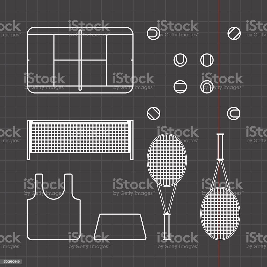 Tennis icons set vector art illustration