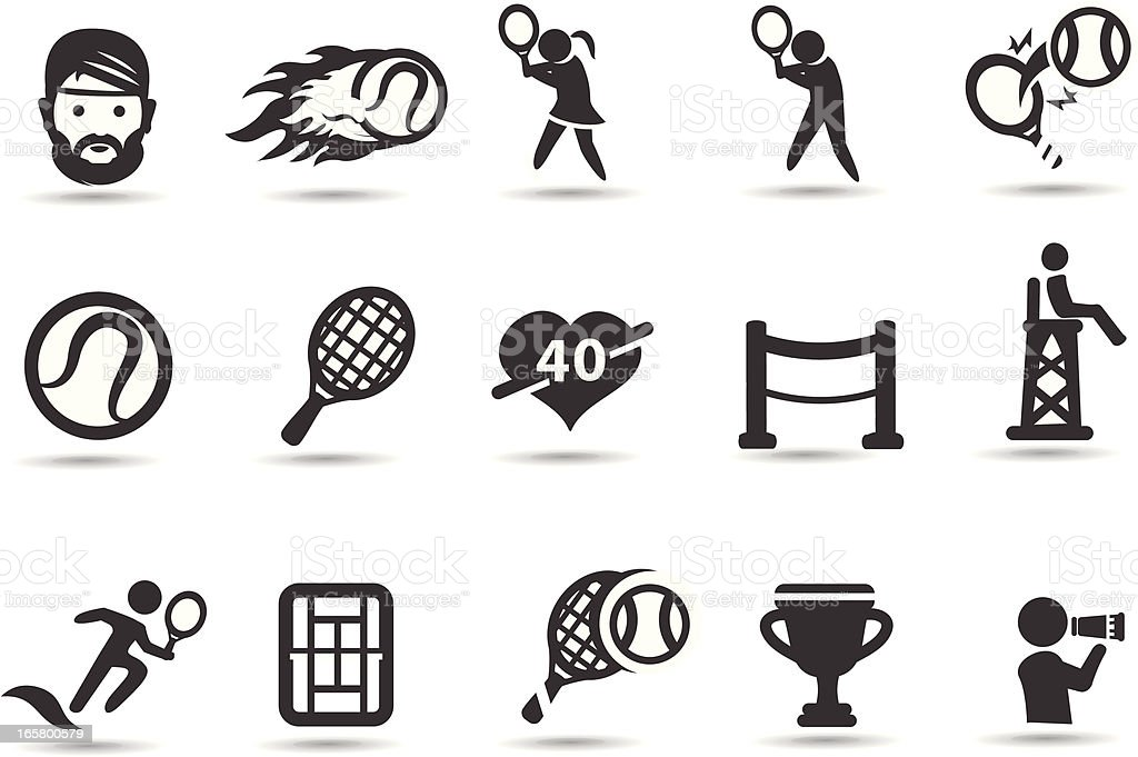 Tennis Icons vector art illustration