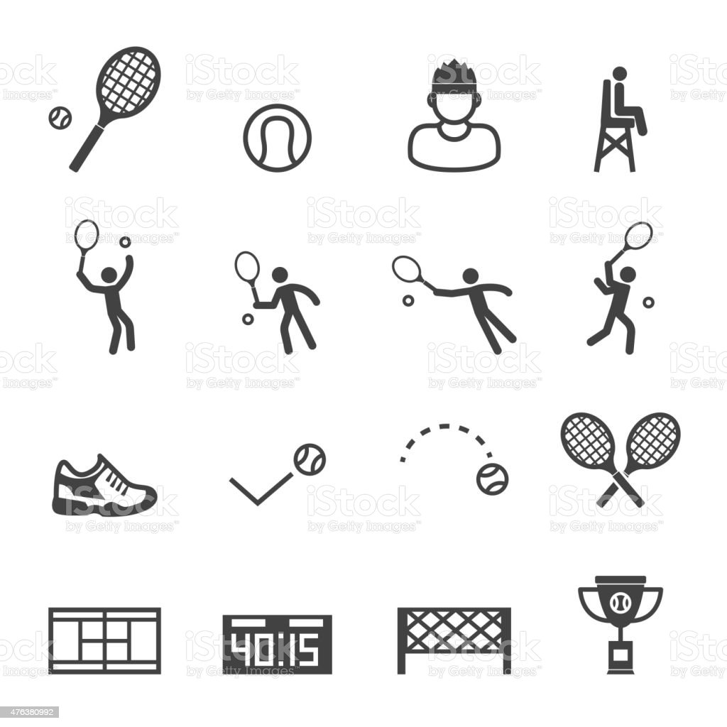 tennis icons vector art illustration
