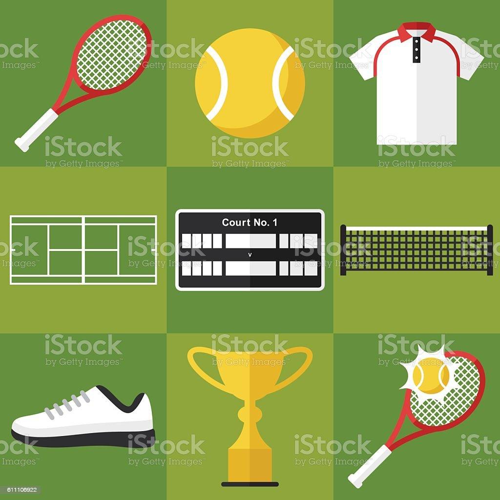 Icônes de Tennis - Illustration vectorielle