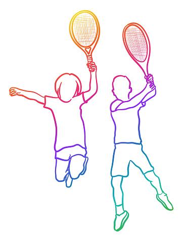 Tennis Kids Jumping Rainbow