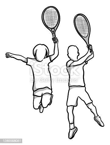 istock Tennis Kids Jumping 1285568051