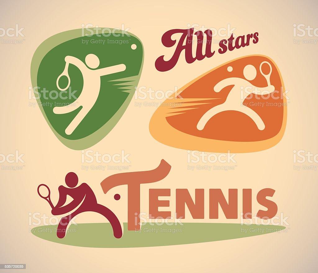 Tennis labels vector art illustration