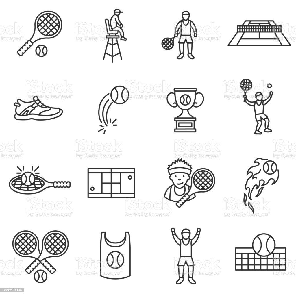 テニス、ラインのアイコンを設定します。編集可能なストローク。 ベクターアートイラスト