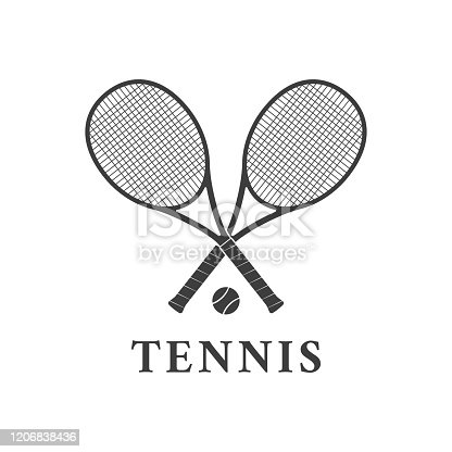 istock Tennis logo design or icon with two crossed rackets and tennis ball. Vector illustration. 1206838436