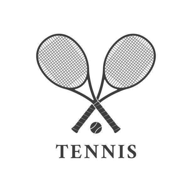 Tennis logo design or icon with two crossed rackets and tennis ball. Vector illustration. Tennis logo design or icon with two crossed rackets and tennis ball. Vector illustration. racket stock illustrations