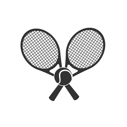 Tennis logo design or icon with two crossed rackets and tennis ball. Vector illustration.