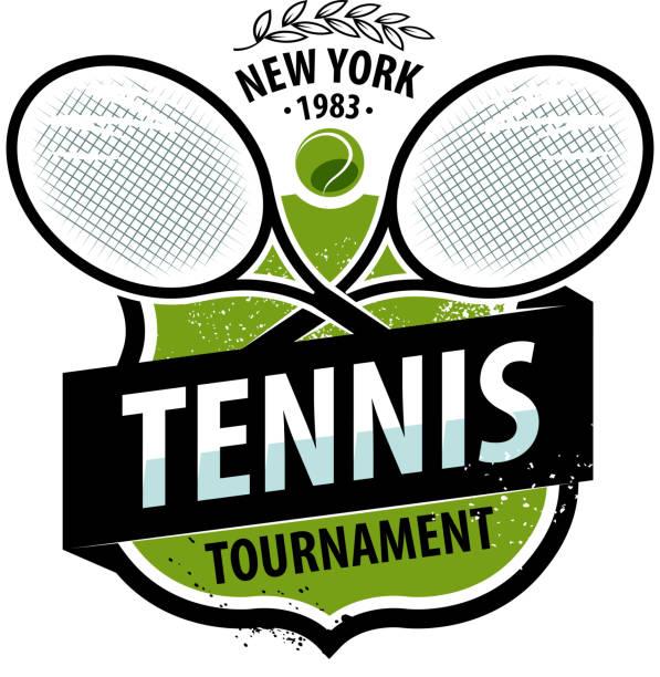 stockillustraties, clipart, cartoons en iconen met tennis logo of label. sport concept. vectorillustratie - tennis