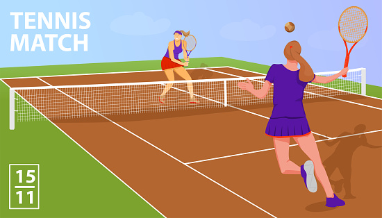 Tennis match concept with gold award cup and tennis players.
