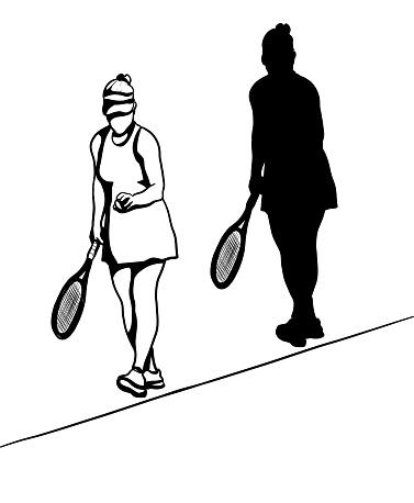 Tennis Match Pre-Serve Silhouette