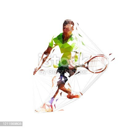 istock Tennis player, abstract low polygonal vector illustration, isolated geometric drawing 1211569805