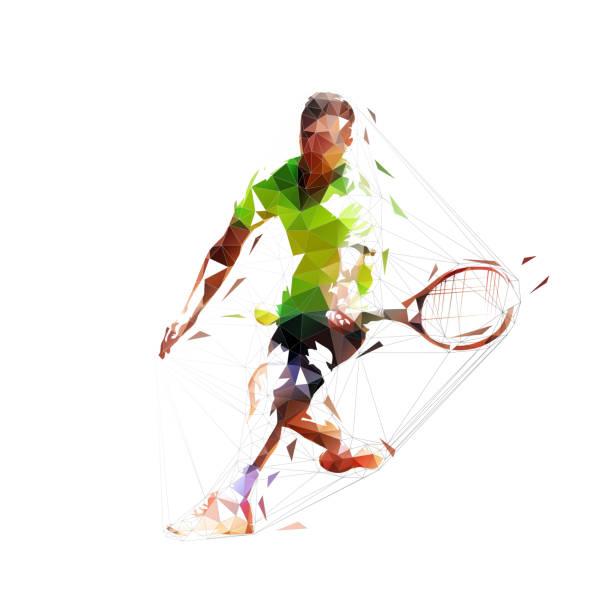 stockillustraties, clipart, cartoons en iconen met tennisser, abstracte lage veelhoekige vectorillustratie, geïsoleerde geometrische tekening - tennis