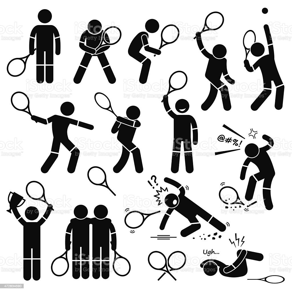 Tennis Player Actions Poses Postures Stick Figure Pictogram Icons vector art illustration