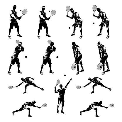 Tennis player black silhouette set on white background, vector illustration