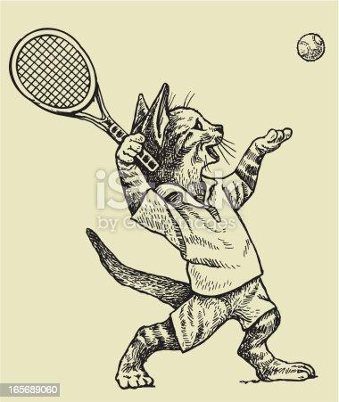 istock Tennis Player Cat Serving Ball 165689060