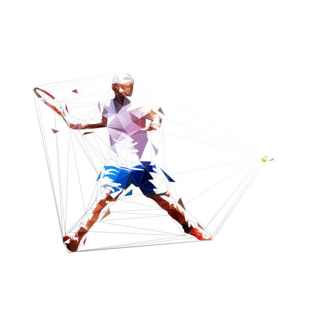 stockillustraties, clipart, cartoons en iconen met tennis speler forehand shot, geïsoleerde laag veelhoekige vector illustratie. tennis smash, geometritris tekening - tennis