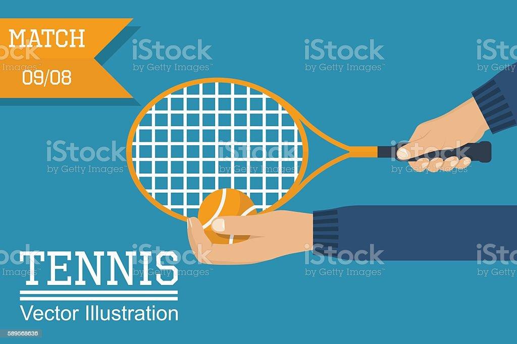 Tennis player holding racket, ball vector art illustration