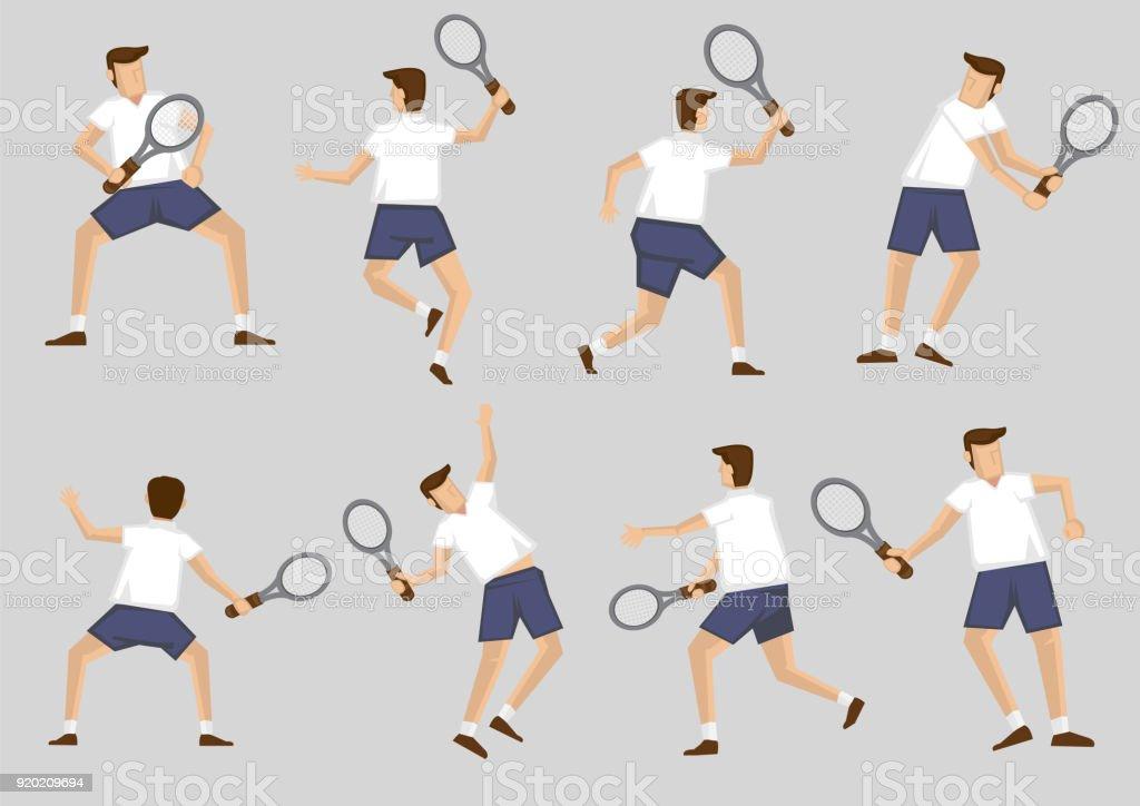 Tennis Player Holding Racquet Vector Cartoon Character Clip Art Set vector art illustration