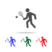 Tennis player  icons. Elements of sport element in multi colored icons. Premium quality graphic design icon. Simple icon for websites, web design, mobile app, info graphics