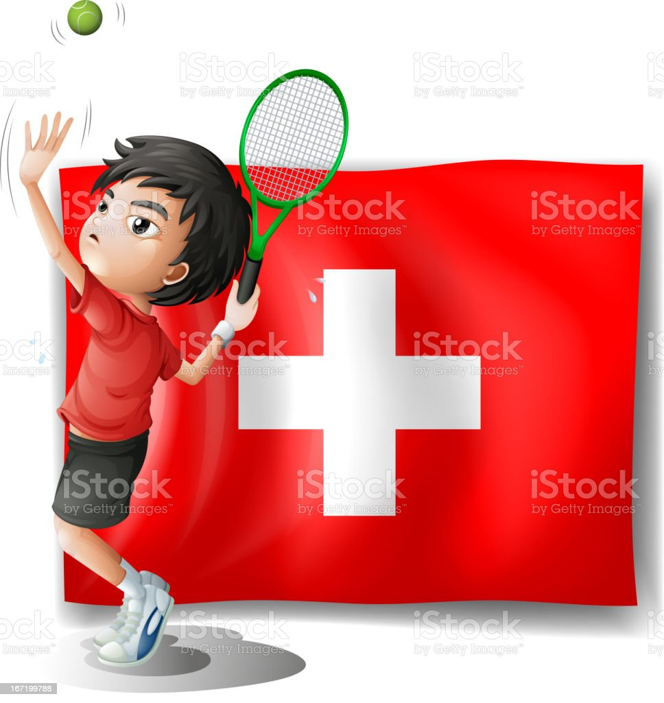 Tennis player in front of the Switzerland flag royalty-free stock vector art