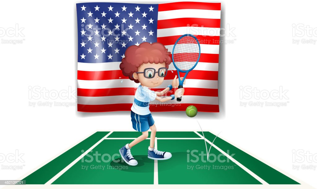 tennis player in front of the USA flag royalty-free tennis player in front of the usa flag stock vector art & more images of activity