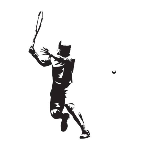 stockillustraties, clipart, cartoons en iconen met tennis speler geïsoleerde vector silhouet, abstracte inkt tekenen van tennis atleet. forehand. individuele zomersport, actieve mensen - tennis