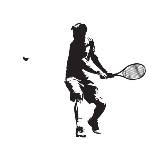 stockillustraties, clipart, cartoons en iconen met tennisser, geïsoleerde vector silhouet. backhand - tennis