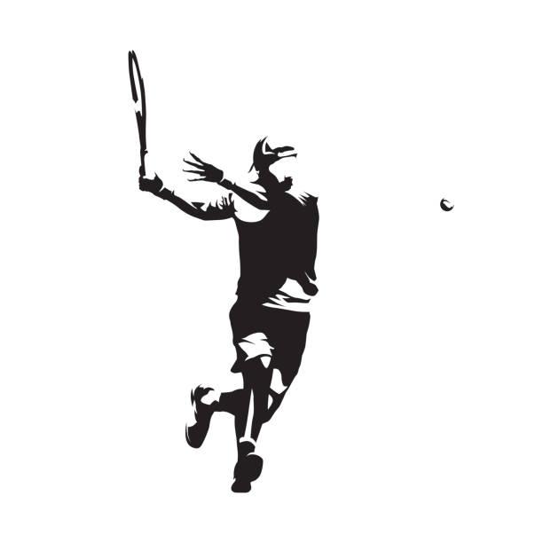 ilustraciones, imágenes clip art, dibujos animados e iconos de stock de jugador de tenis, silueta vector aislado. dibujo a tinta - tenis