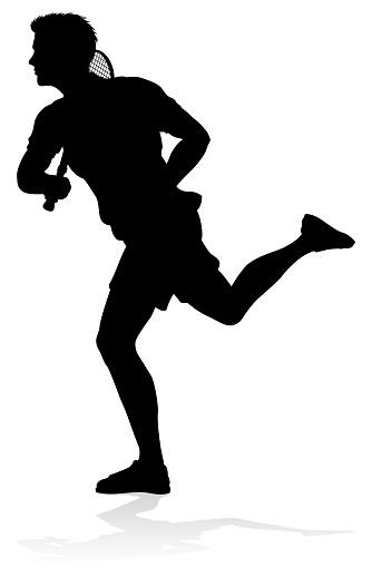 Tennis Player Man Sports Person Silhouette