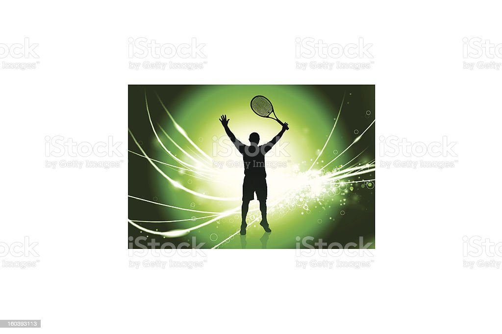 Tennis Player on Fiber Optic Background royalty-free tennis player on fiber optic background stock vector art & more images of abstract