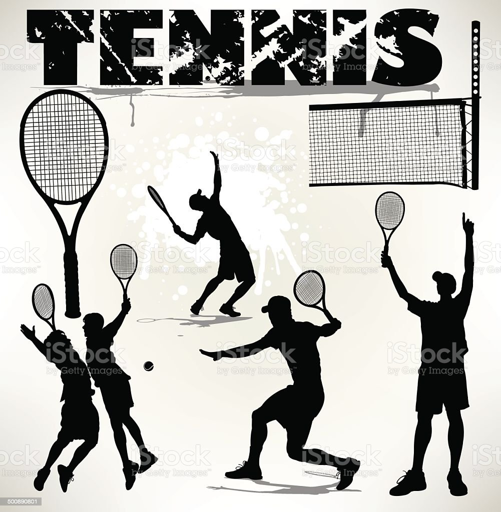Tight silhouette illustrations of tennis racket, players and more....