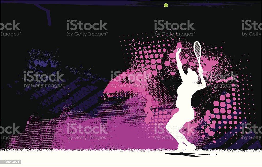 Tennis Player Serve Background - Female vector art illustration
