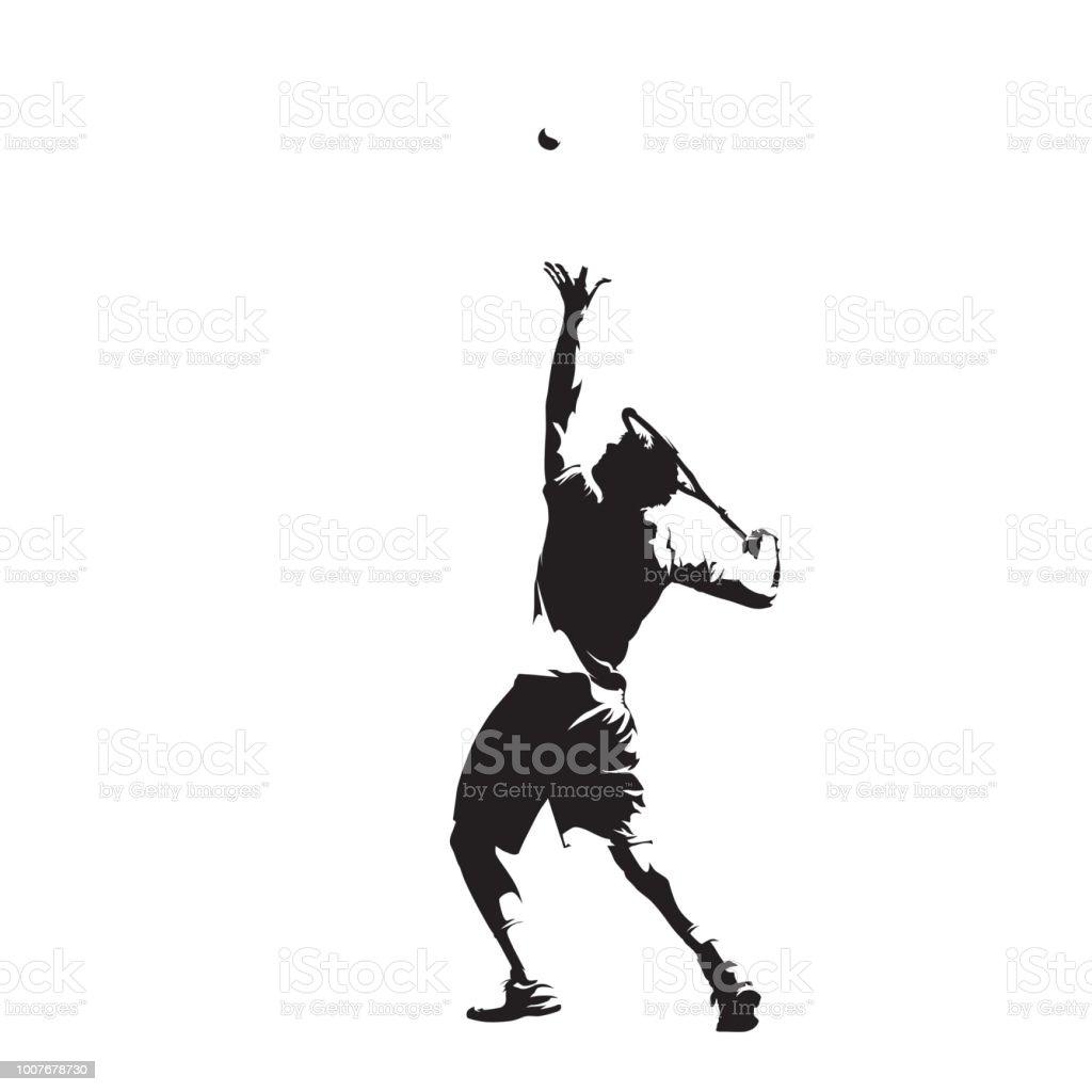 Joueuse de tennis qui dessert boule, silhouette vecteur isolé, dessin à l'encre. Sport individuel de l'été. Personnes actives - Illustration vectorielle