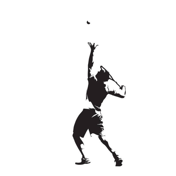 Tennis player serving ball, isolated vector silhouette, ink drawing. Individual summer sport. Active people vector art illustration