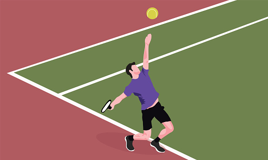 Tennis player serving ball. Tennis scene stock illustration.