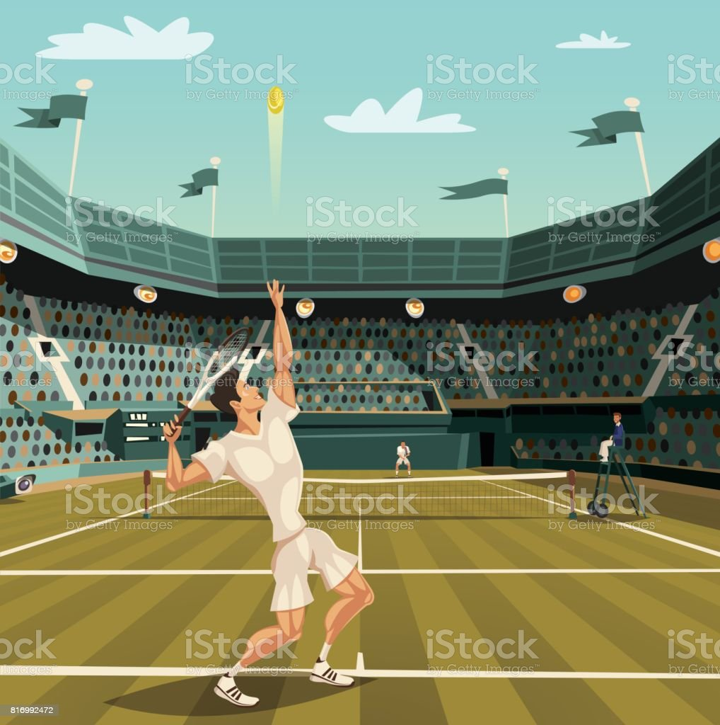 Tennis player serving on Grand Slam tournament for winning vector art illustration