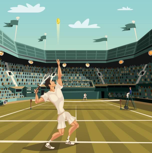 tennis player serving on grand slam tournament for winning - tennis stock illustrations, clip art, cartoons, & icons