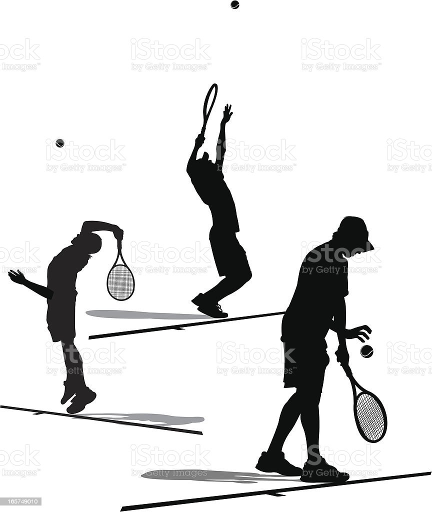 Tennis Player Serving - Silhouette Collection royalty-free tennis player serving silhouette collection stock vector art & more images of athlete