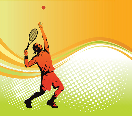 Tennis Player Serving with Background as Copy Space