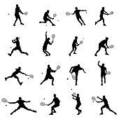 Tennis Player Set Of Sixteen Men Illustration Black Vector Silhouettes