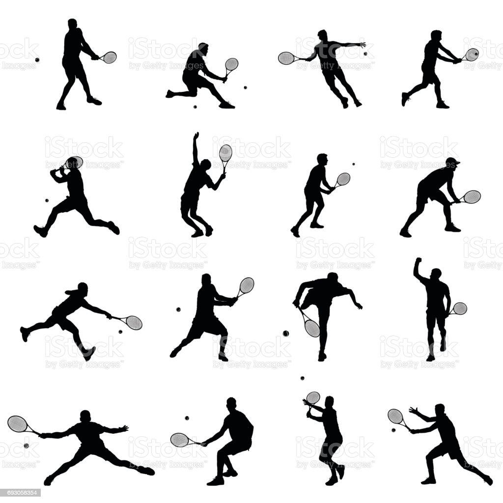 Tenista conjunto de dezesseis homens ilustração vetorial preto silhuetas - ilustração de arte em vetor