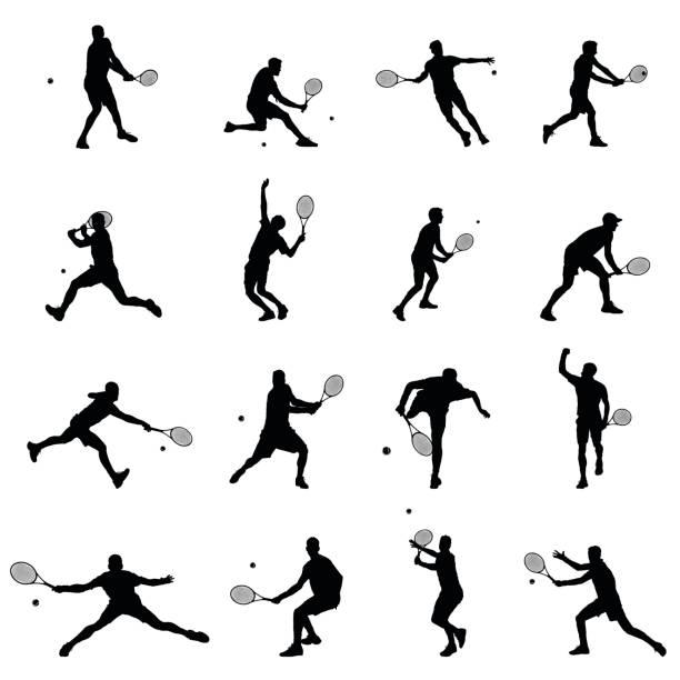 tennis player set of sixteen men illustration black vector silhouettes - tennis stock illustrations, clip art, cartoons, & icons