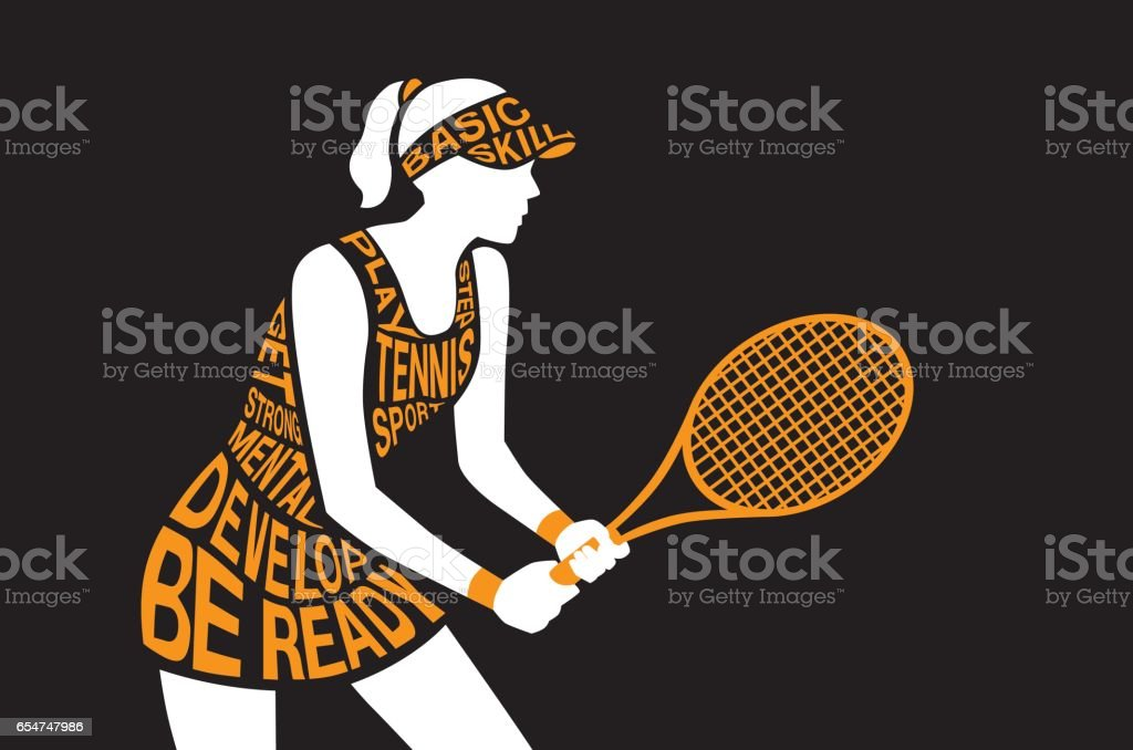 Tennis player standing and hold a racket in hand. – Vektorgrafik