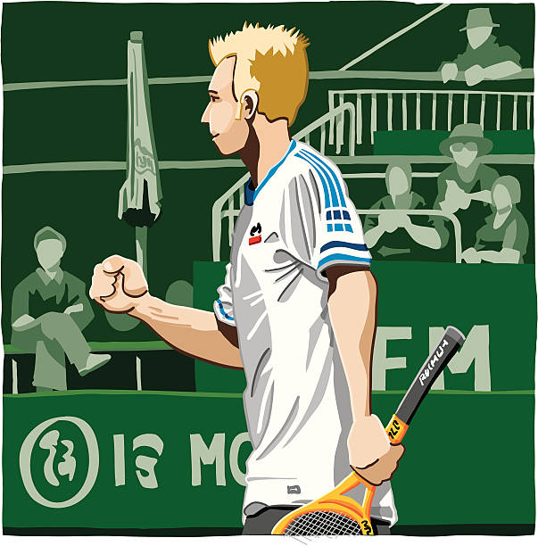 """Tennis Player Successful """"Vector Illustration of a Tennis Player who celebrates a successful hit. The background is on a separate layer, so you can use the illustration on your own background. The colors in the .eps and .ai-files are ready for print (CMYK). Included files: EPS (v8), AI (CS2) and Hi-Res JPG."""" tennis stock illustrations"""