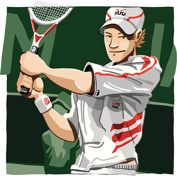 """Tennis Player """"Vector Illustration of a Tennis Player. The background is on a separate layer, so you can use the illustration on your own background. The colors in the .eps and .ai-files are ready for print (CMYK). Included files: EPS (v8), AI (CS2) and Hi-Res JPG."""" tennis stock illustrations"""