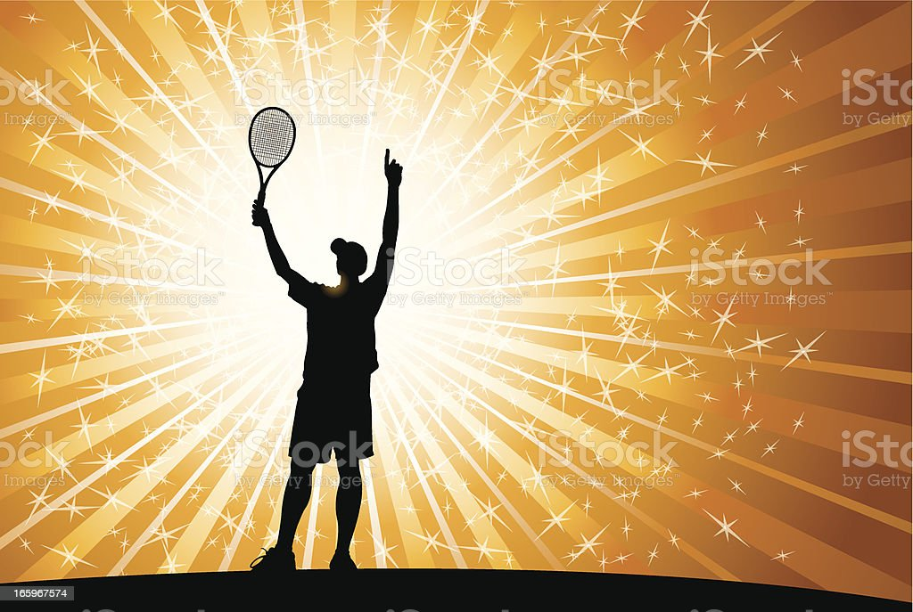 Tennis Player Victory Background - Men royalty-free stock vector art