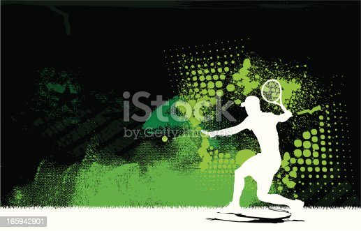 Graphic silhouette background illustration of a tennis player getting ready to return the ball. Check out my
